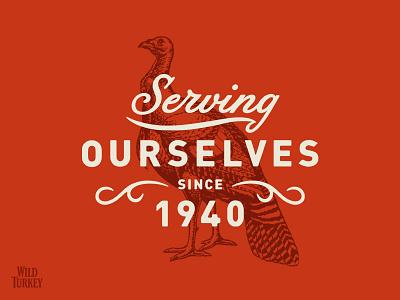 Wild Turkey branding bird logo lockup bourbon vintage alcohol illustration typography script whiskey turkey