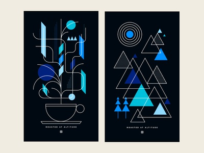 Fairisle Coffee Poster Series snowflake geometric restaurant food colorado typography illustration pattern branding logo poster coffee