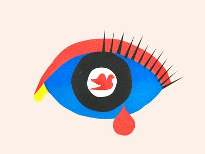 War & Peace editorial bird illustration modern vision tear texture art dove war peace eye