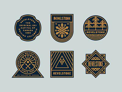 Revelstoke BC illustration snowflake crest nature outdoors ski mountains patch canada typography badge logo
