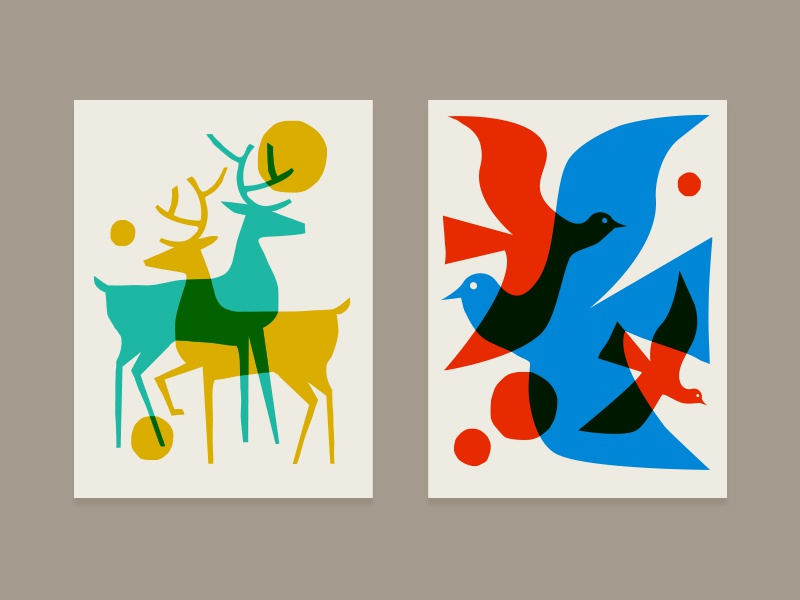 Overlay print series poster abstract modern illustration outdoors nature deer bird animal print overlay
