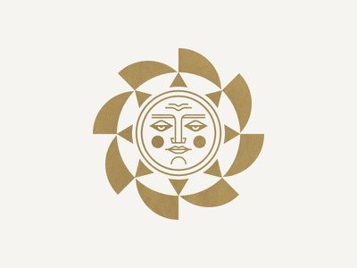 Sun icon badge geometric person light branding burst face sky logo sun