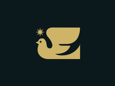 Dove card modern star animal bird icon logo illustration holidays christmas peace dove