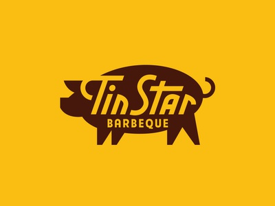 Tin Star BBQ south georgia illustration typography sign food pig branding restaurant logo bbq