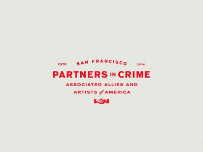 Partners in Crime hand shake usa branding logo san francisco typography badge lockup