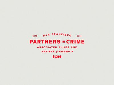 Partners in Crime hand shake usa branding logo san francisco typography badge lockup