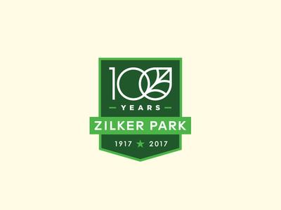 Zilker Park 100 Year Anniversary  typography 100 year leaf centennial austin shield crest badge logo park