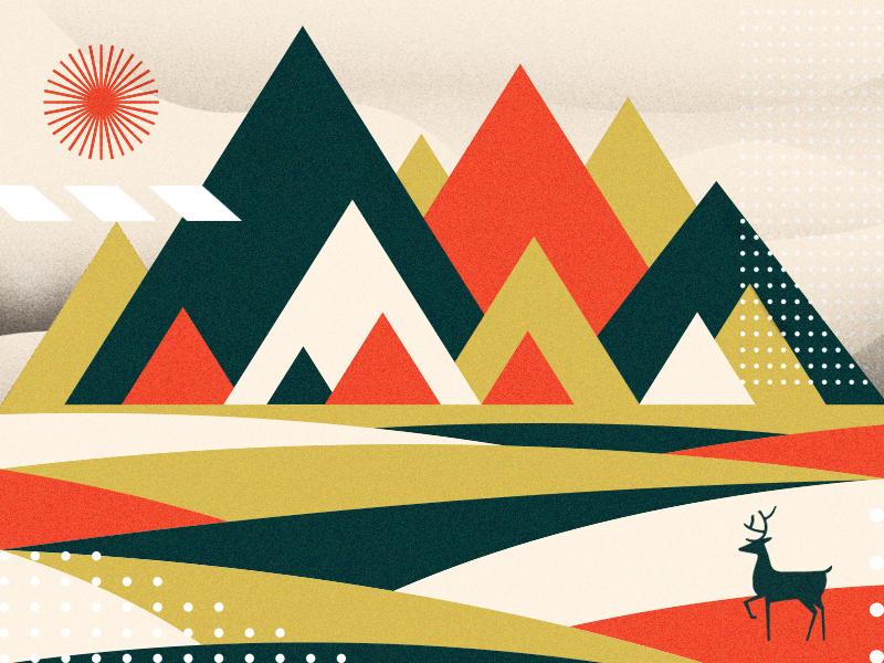 Mountains triangle sun nature pattern geometric modern deer outdoors mountians illustration