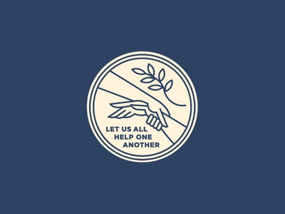 Help One Another illustration crest leaf peace people line logo badge hand help