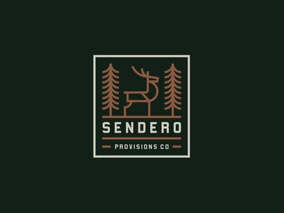 Sendero Provisions Co animal nature clothing illustration typography badge lockup logo deer tree outdoors