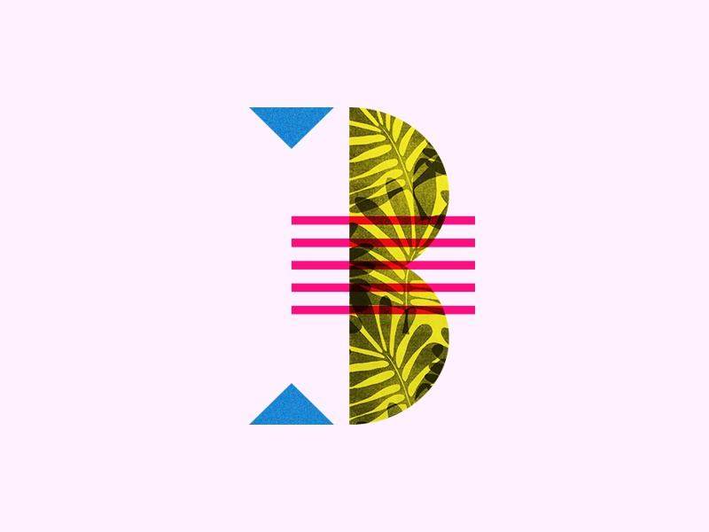 No. 3 leaf logo shape party fun geometric pattern illustration typography three 3 number