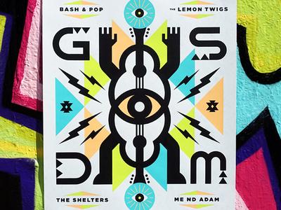 GSD&M SXSW Poster austin sxsw guitar tribal modern illustration typography geometric eye music art poster