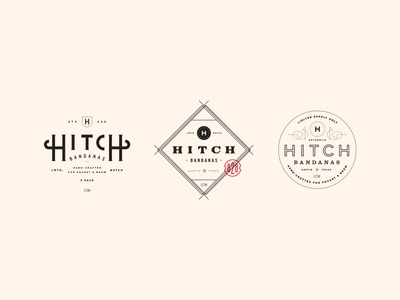 Hitch Bandanas austin seal stamp vintage western bandana branding illustration lockup badge typography logo