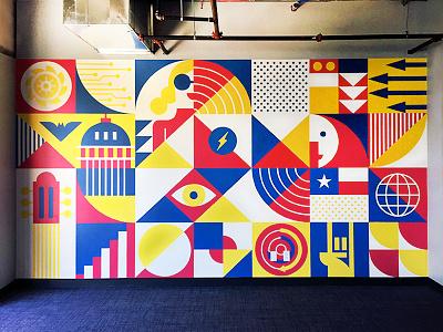 BigCommerce Mural technology modern illustration commerce music pattern texas austin art geometric mural