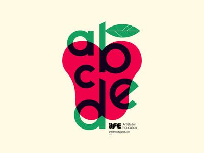 AFE cover modern leaf alphabet branding logo illustration typography fruit learning school apple