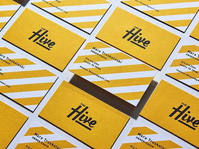 The Hive illustration typography badge poster branding script logo stationary business card cards bee