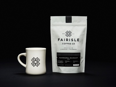 Fairisle Coffee Co. logo snowflake banner drink branding colorado mountains typography crest badge packaging coffee