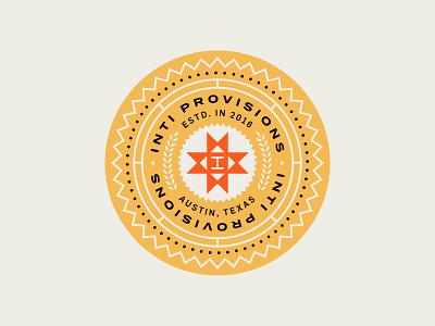 Inti Provisions austin peru typography food packaging branding lockup crest seal logo badge