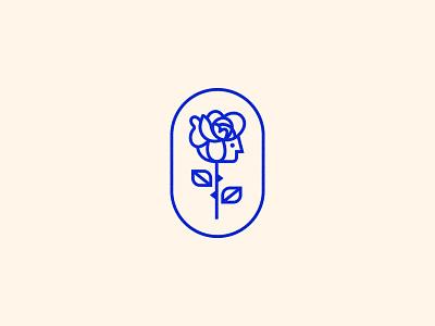 Rose leaf crest symbol badge plant illustration logo head face flower rose