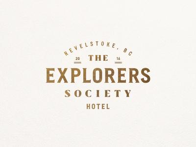 The Explorers Society Hotel typography lockup canada explore hotel branding leaf badge logo