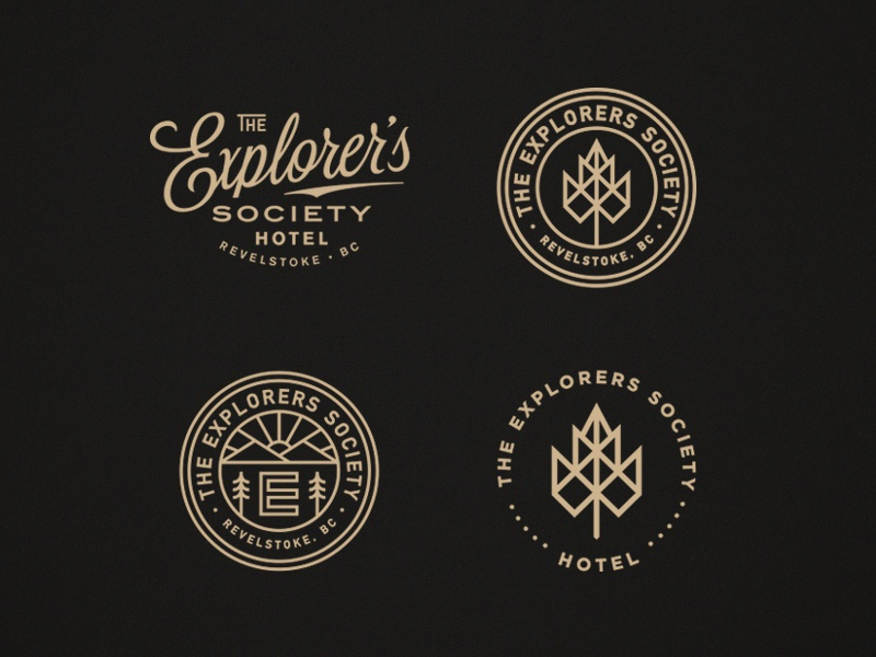 The Explorers Society Hotel script mountains typography leaf seal branding lockup canada hotel logo badge