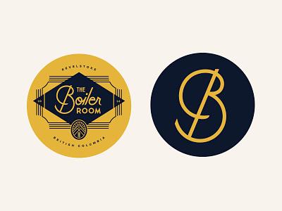 The Boiler Room illustration typography branding coaster badge lockup canada bar script logo