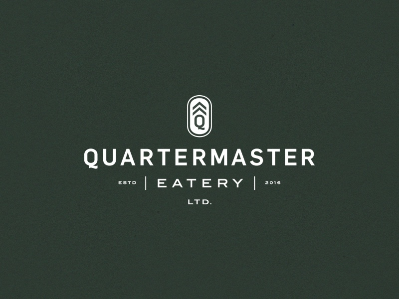 Quartermaster Eatery typography canada branding menu coaster q badge lockup logo restaurant