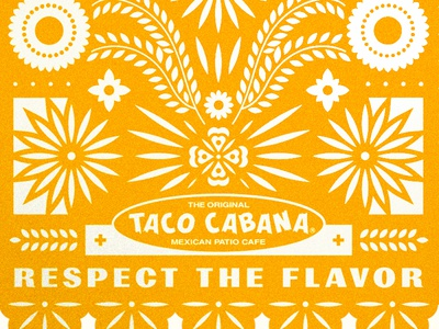 Taco Cabana typography flower badge logo type taco restaurant branding food mexican papel