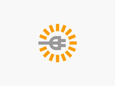 Electric electric mark symbol branding logo bright sun plug electricity