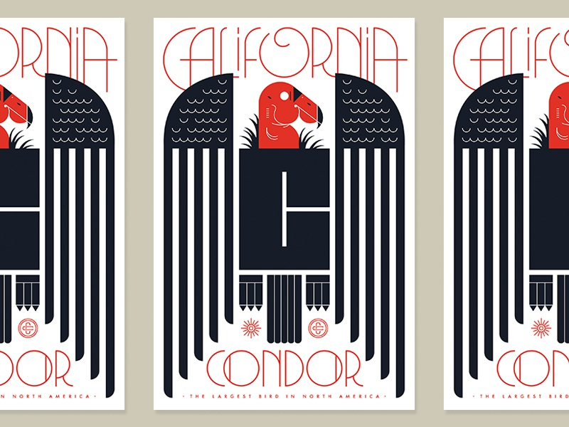 TYPEHIKE Alphabeast c endangered california badge lockup letter animal illustration typography condor bird poster