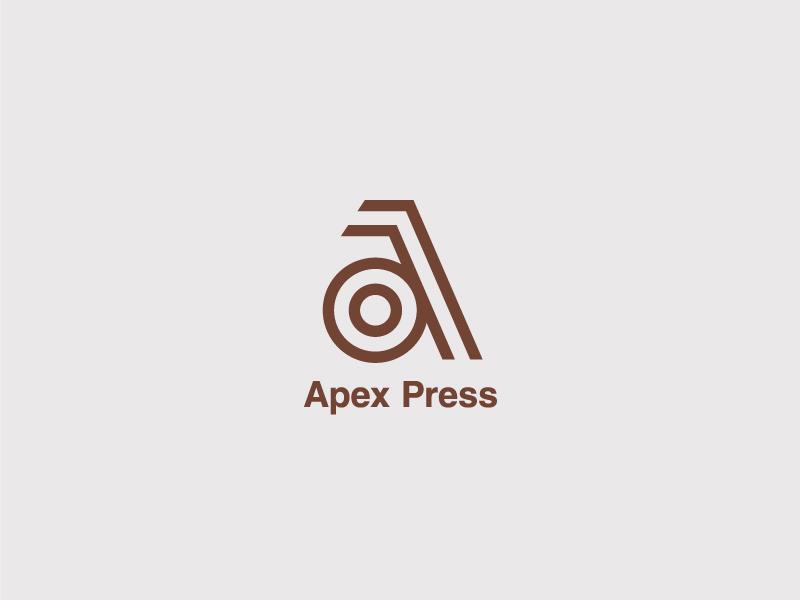 Apex Press mark symbol press letter branding typography logo a