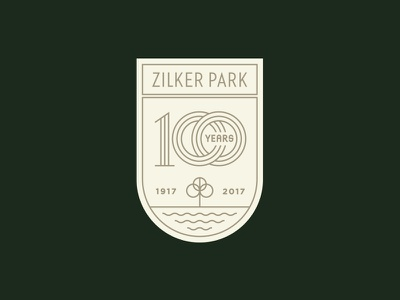Zilker Park 100 years nature tree anniversary lockup typography texas austin logo park crest badge