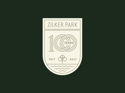 Zilker Park 100 years nature tree anniversary lockup typography texas austin logo park crest badge
