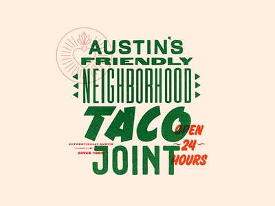 Tacos! heart typography texas austin restaurant food mexican branding taco pattern