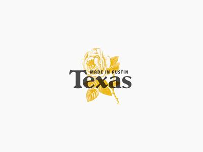 ATX made vintage illustration lockup logo typography flower rose texas austin