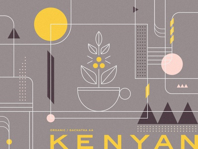 Kenyan Coffee Blend leaf modern geometric packaging beverage drink typography branding illustration coffee