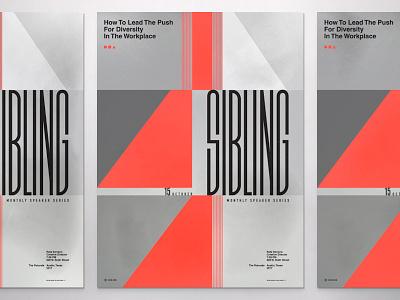 Sibling event condensed modern layout geometric speaking branding logo typography illustration poster