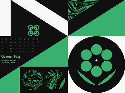 Green Tea geometric modern branding logo typography illustration beverage drink leaf flower packaging tea