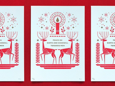 Christmas Card typography leaf snowflake tree holiday candle illustration deer card christmas