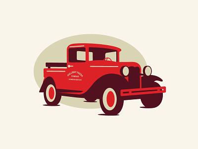 Hallway Feeds Truck modern car farm vintage typography branding logo illustration truck