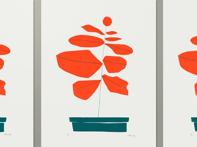 Plant print poster nature organic pot geometric abstract illustration plant