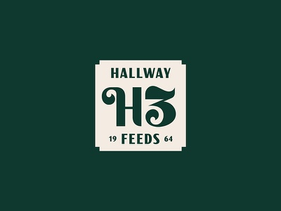 Hallway Feeds farm monogram branding typography lettering badge logo horse