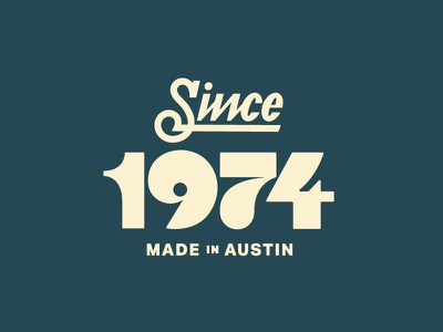 Since 1974 retro lockup lettering branding logo typography script date year 1974 70s