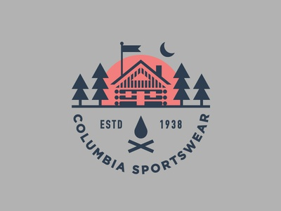 Columbia Sportswear apparel camping outdoors illustration branding typography logo woods cabin