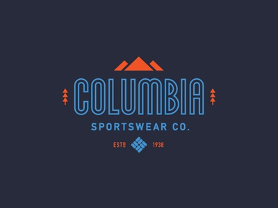 Columbia Sportswear illustration lettering tree mountains nature outdoors apparel logo type