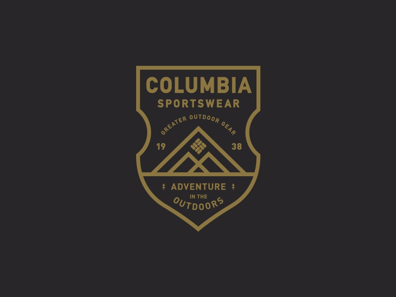 Columbia Sportswear crest branding logo typography mountains outdoors badge