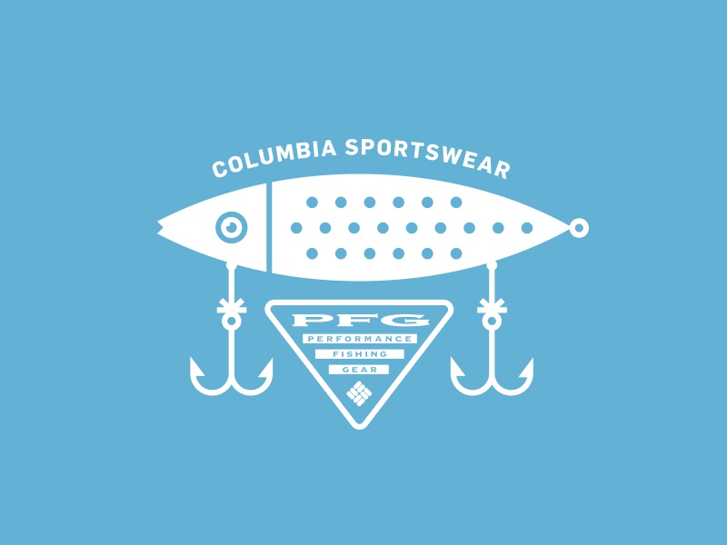 Columbia Sportswear hook wild nature outdoors apparel illustration typography lockup logo lure fishing fish