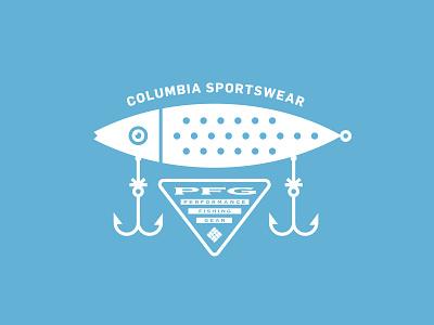 Columbia Sportswear hook wild nature outdoors apparel illustration typography lockup logo lure fishing fish