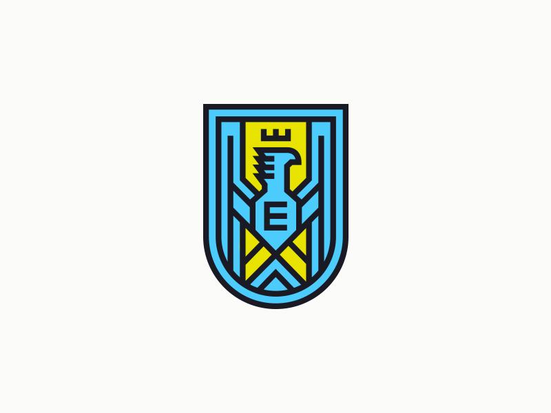 Everhouse I bird heraldry illustration typography branding logo badge crest eagle