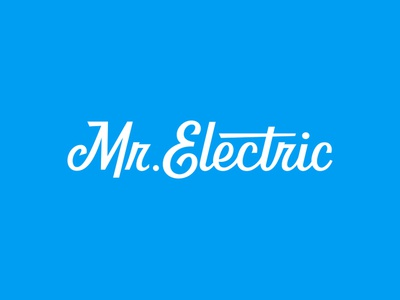Mr. Electric lettering logotype typography electric branding logo script